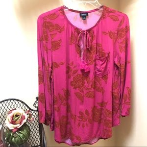 A.N.A. Floral long sleeves Blouse with Tassels